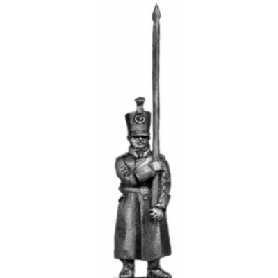 Musketeer standard bearer, shako, greatcoat (18mm)