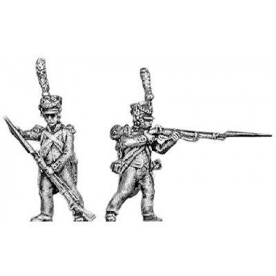 Voltigeur, lozenge plate, shako cords and plume, skirmishing (18mm)