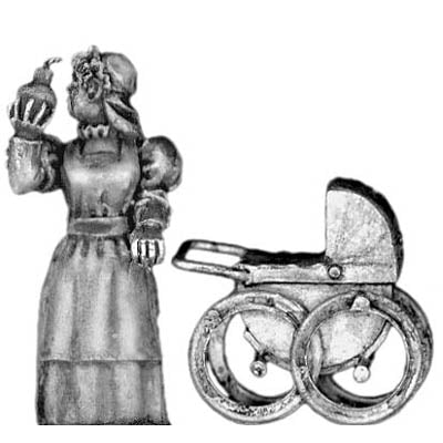 Anarchist Nanny with bomb and pram (28mm)