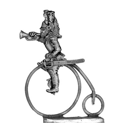 Cuirassier bugler on penny-farthing in helmet (28mm)