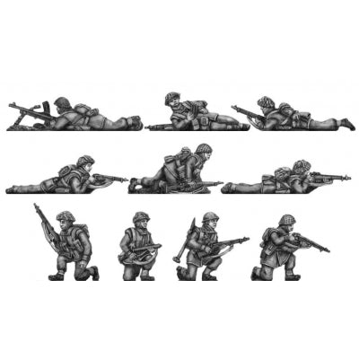 Infantry section, jerkins, kneeling and prone (20mm)
