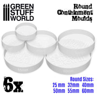 6x Translucent white Containment Moulds for Bases - Round