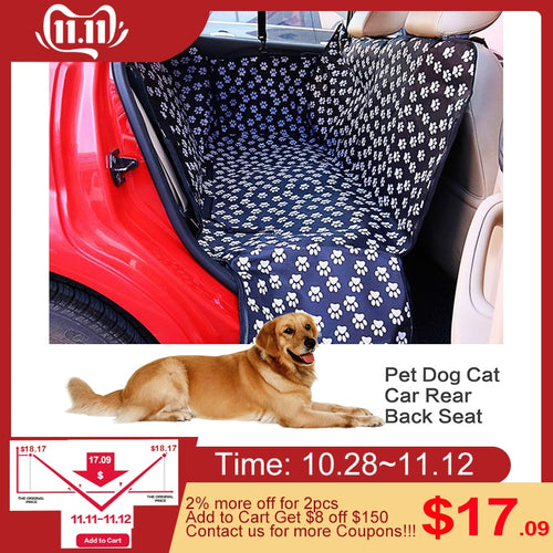 Pet Oxford Fabric Car Seat Cover - Dog Car Back Seat Waterproof Hammock Cushion Protector