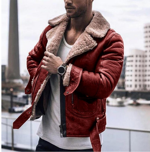 (Last day promotion)Men's Lapel Velvet Long Sleeve Leather Jacket