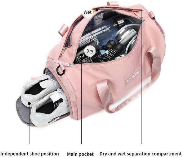 Fitness Travel Duffel Bag with Dry Wet Pocket & Shoes