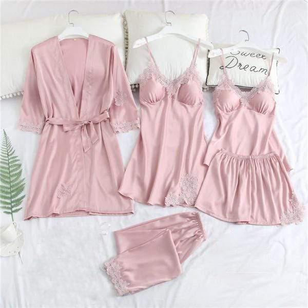 5 Pieces Women Ice Silk Pajamas Sleepwear
