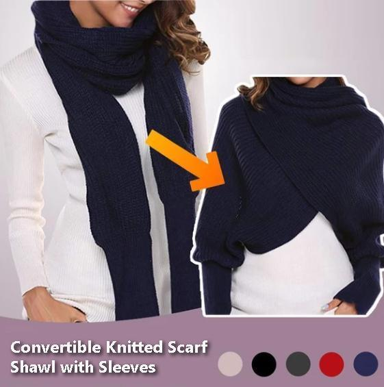 Convertible Knitted Scarf Shawl with Sleeves