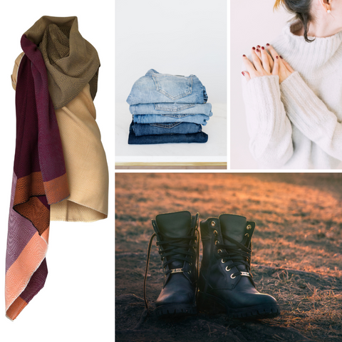 Comfy fall outfits with the Julahas Cape in peach colours