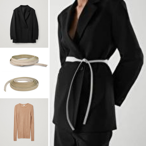 White Skinny Julahas belt with a suit for fall 2021
