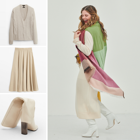 Warm knitted dress and colourful Cape Yukon makes a warm and cute fall outfit