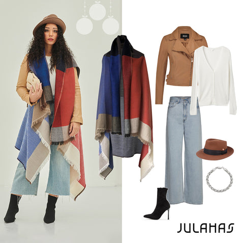 Holiday looks for 2020. Outfit inspiration with our Cape Missouri and jeans