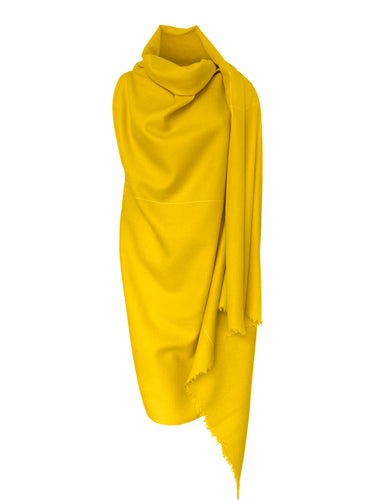 Stylish yellow cape wool for women made by Julahas