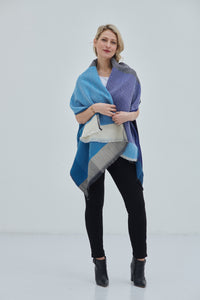 Onesize Scarf- Daria Cape Cetina in bright and dark shades of Blue