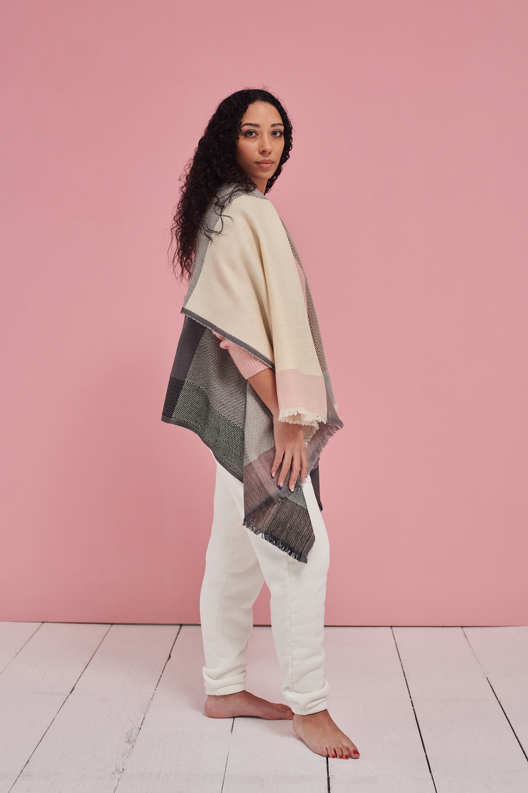 Ethically designed Scarf for all seasons in cool colours-Daria Cape Amstel