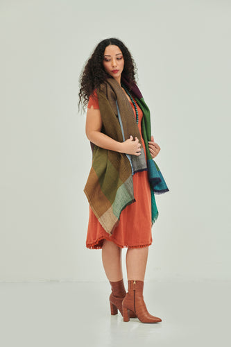 One size fits all, sustainable poncho cape in warm tones Daria Cape Madeira