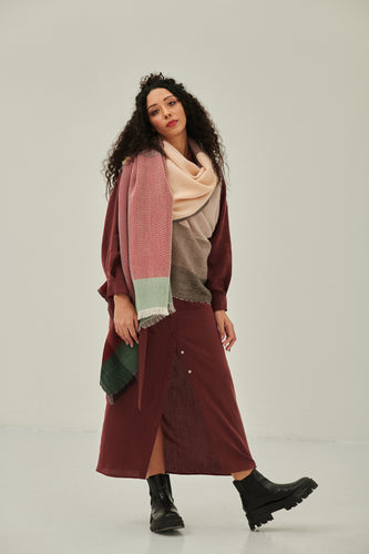 100% pure wool- a versatile scarf wrap for all seasons in cool colours Daria Cape Seine