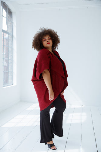 Wool silk kimono fire by julahas for plus sizes