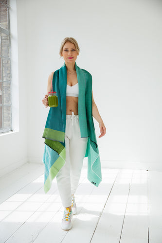 Cotton Cape by julahas in shades of fresh green