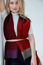 Load image into Gallery viewer, Timeless versatile one-size Daria Cape Mississippi in shades of red for all occassions