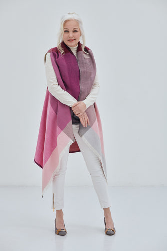 A pure wool versatile Poncho Cape Ishikari in bright shades of Pink