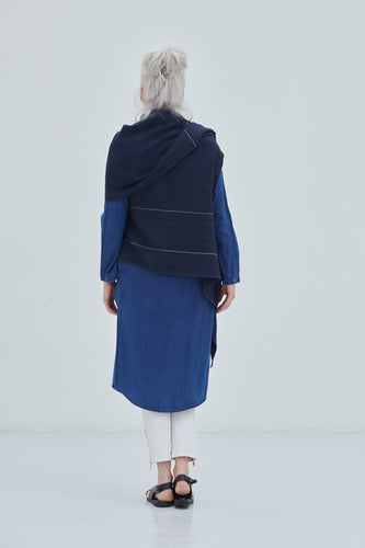 100% Pure organic wool Celestial Cape Neptune with shades of Dark Blue
