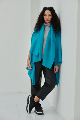 Stylish sea-green soft pure wool poncho Daria Cape Thalassa
