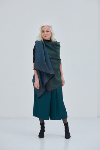 Wool poncho cape in forest green and teal Daria Cape Zanskar