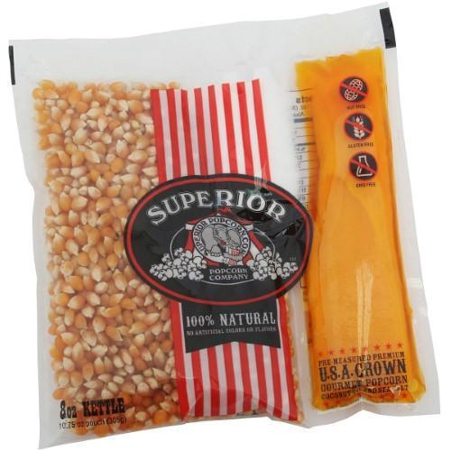 SUPERIOR POPCORN 8 OUNCE PORTION PACKS ORGANIC GOURMET MOVIE THEATER STYLE POPCORN