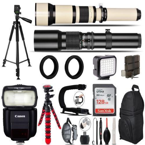 500Mm-1300Mm Telephoto Lens For 5D Mark Iv + 430Ex Speedlight + Led + 128Gb