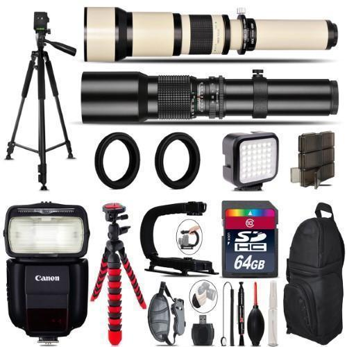 500Mm-1300Mm Telephoto Lens For 5D Mark Iv + Pro Flash + Led Light -64Gb Bundle