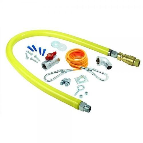 T & S Brass Hg-4D-72K Gas Hose With Quick Disconnect, 3/4-Inch Npt, 72-Inch Long And Includes Installation Kit