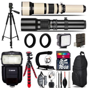 500Mm-1300Mm Telephoto Lens For 5D Mark Iv + Pro Flash + Led Light -16Gb Bundle