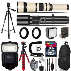 500Mm-1300Mm Telephoto Lens For 5D Mark Iv + Pro Flash + Led Light -32Gb Bundle
