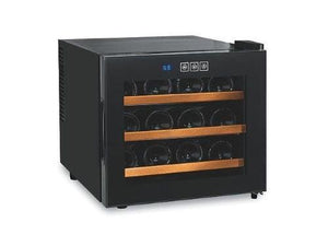 The Wine Enthusiast 12 Bottle Black Wine Cooler With Thermoelectric Climate