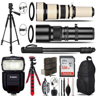 500Mm-1300Mm Telephoto Lens For 6D Mark Ii - Video Kit + Flash - 128Gb Bundle