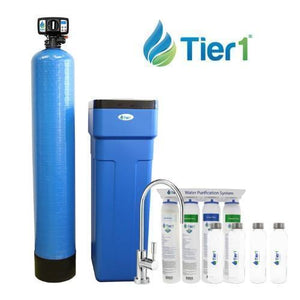Tier1 48,000 Grain Capacity Water Softener + 4-Stage Ultra-Filtration Hollow Fiber Drinking Water Filter System And 4 Glass Water Bottles (Pack Of 6)