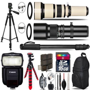 500Mm-1300Mm Telephoto Lens For 6D Mark Ii - Video Kit + Flash - 16Gb Bundle