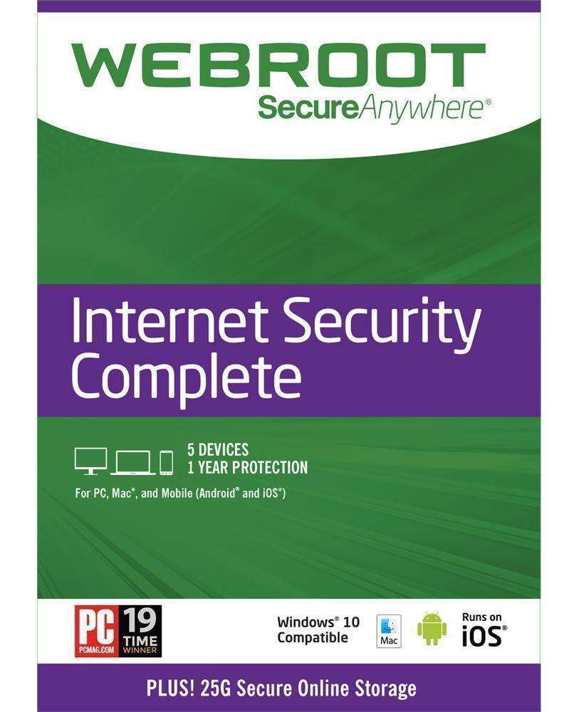 Webroot Internet Security Complete + Antivirus 2018 5-Devices 1-Year Subsc