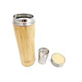 Sustainable Bamboo Thermos Flask With Tea Infuser