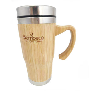 Sustainable Bamboo Insulated Travel Mug With Handle - Large