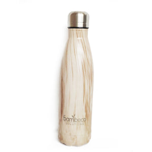 Insulated Stainless Steel Bottle In Woodgrain