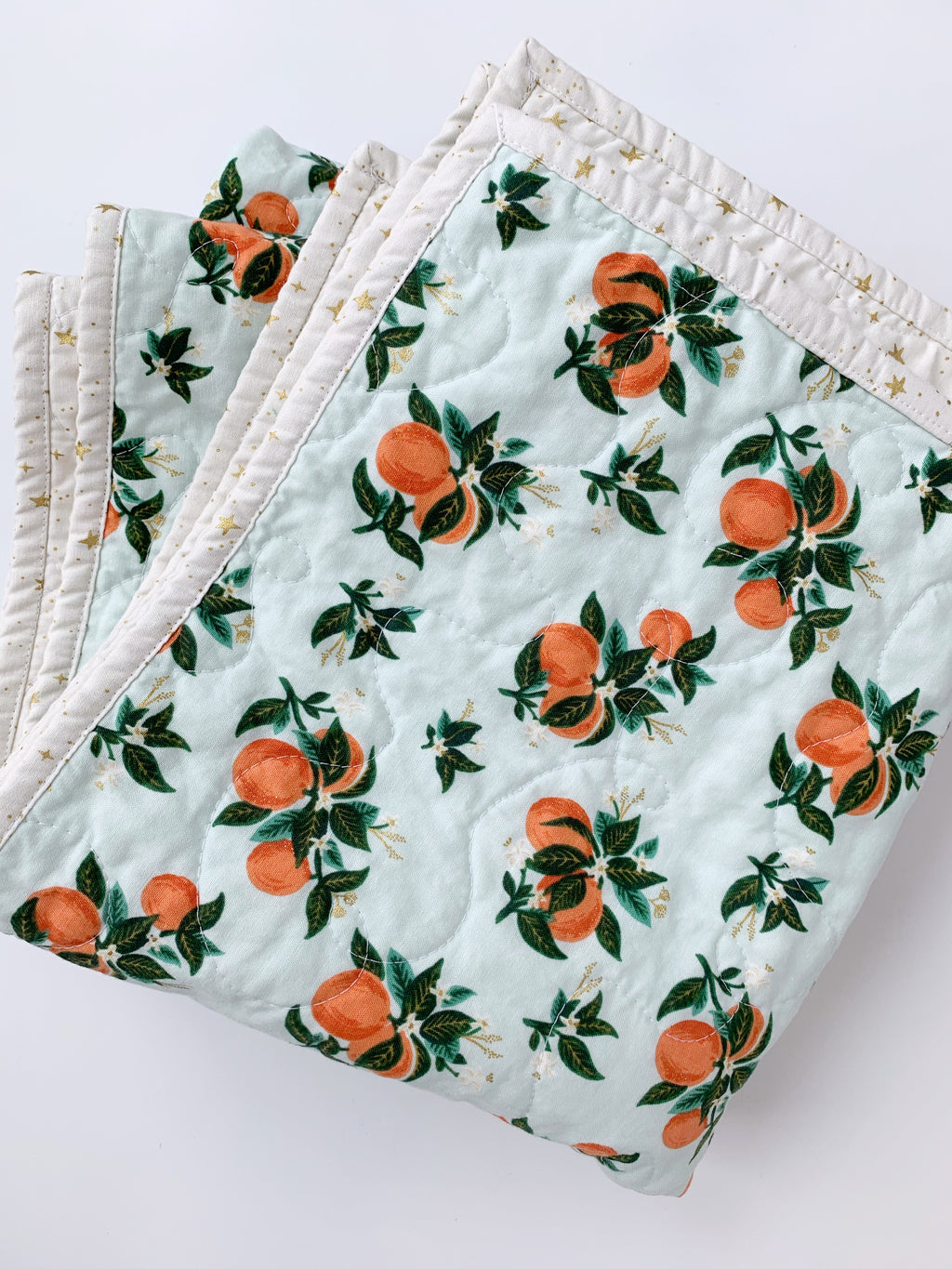 Wholecloth Orange Blossom Baby Quilt