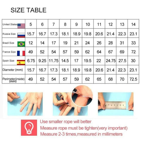 Ring Size Chart table
