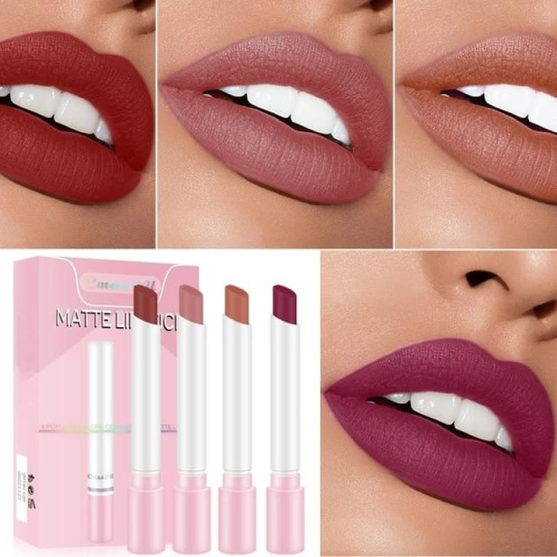 1/4PCs Creative Cigarette Lipstick Velvet Matte Long Lasting Waterproof Matt Lip Stick Smoke Tube - My Web Store Shopping