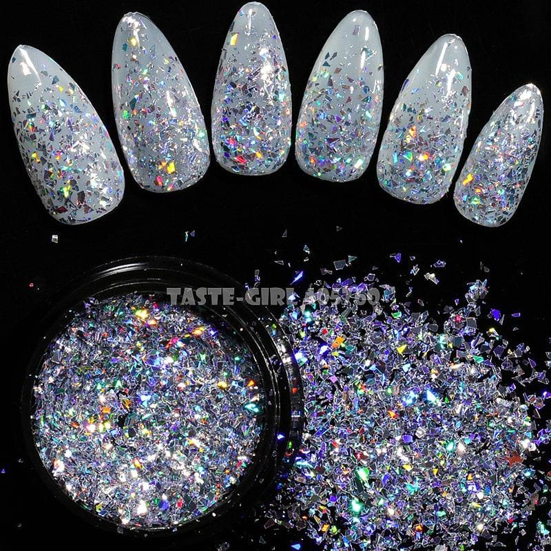 1 Jar Shiny Holographic Glitter Shimmering Irregular Fragment Powder Acrylic Nail Art Decoration - My Web Store Shopping