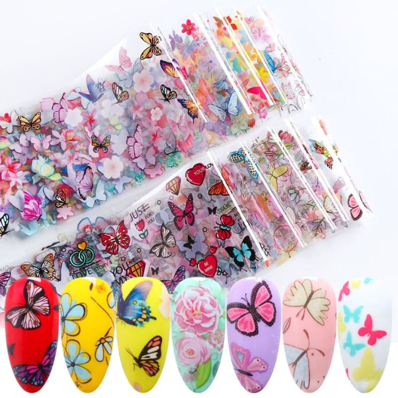 10pcs Butterfly Flower Stickers On Nails Foil Colorful Polish Adhesive Sticker Nail Decals Foil - My Web Store Shopping