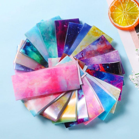 10pcs/set Manicure Marble Shining Foils Stone Designs Transfer Nail Art Stickers Starry Sky Wraps