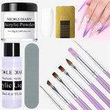 12Pcs set Acrylic Powder Clear Extension Builder Crystal Nail Glitter Chrome 3D Nail Tips. - My Web Store Shopping