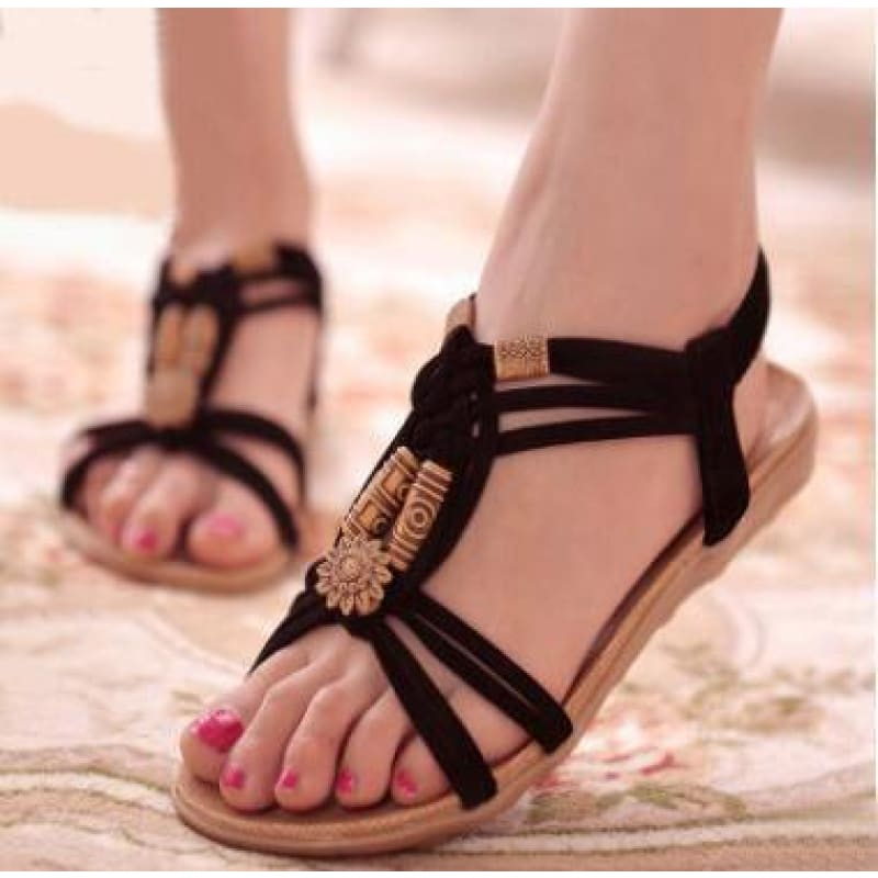 summer new bohemian sandals women's shoes cross straps flattoe students beach shoes - My Web Store Shopping
