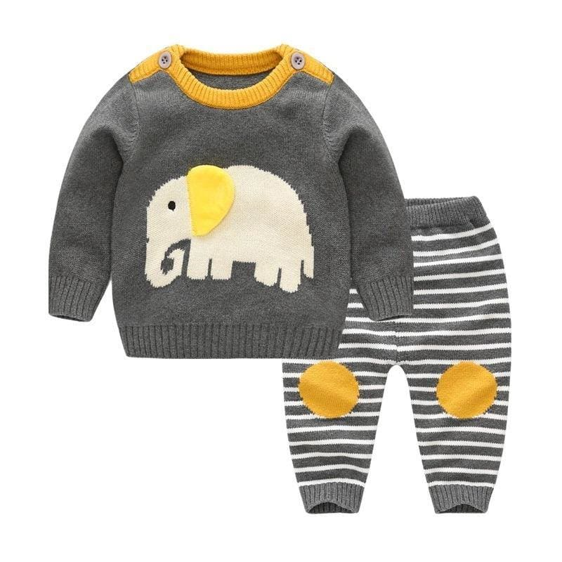 New Baby Sweater Suit Baby Jacket Thick Thick Line Suit - My Web Store Shopping